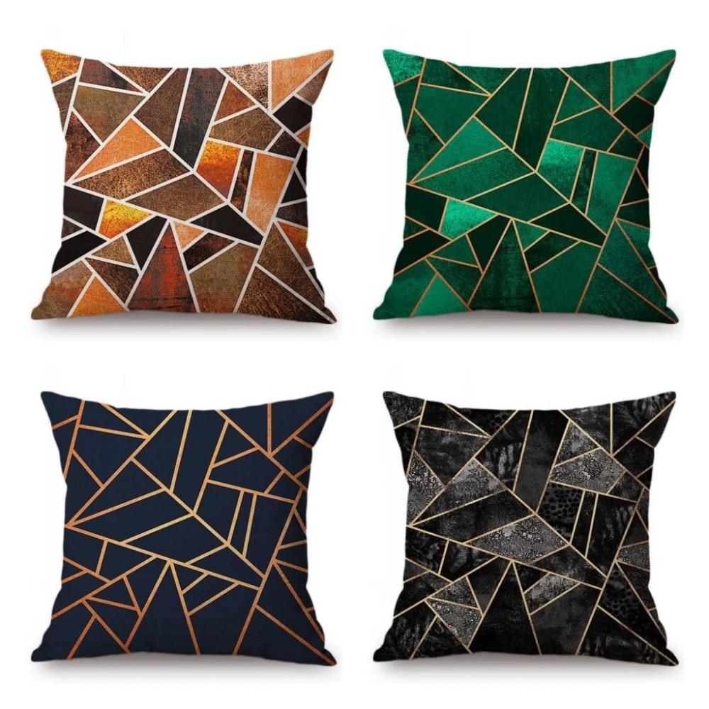 nordic fashion marble texture geometric emerald green blue black sofa decorative throw pillow cases cotton linen cushion cover
