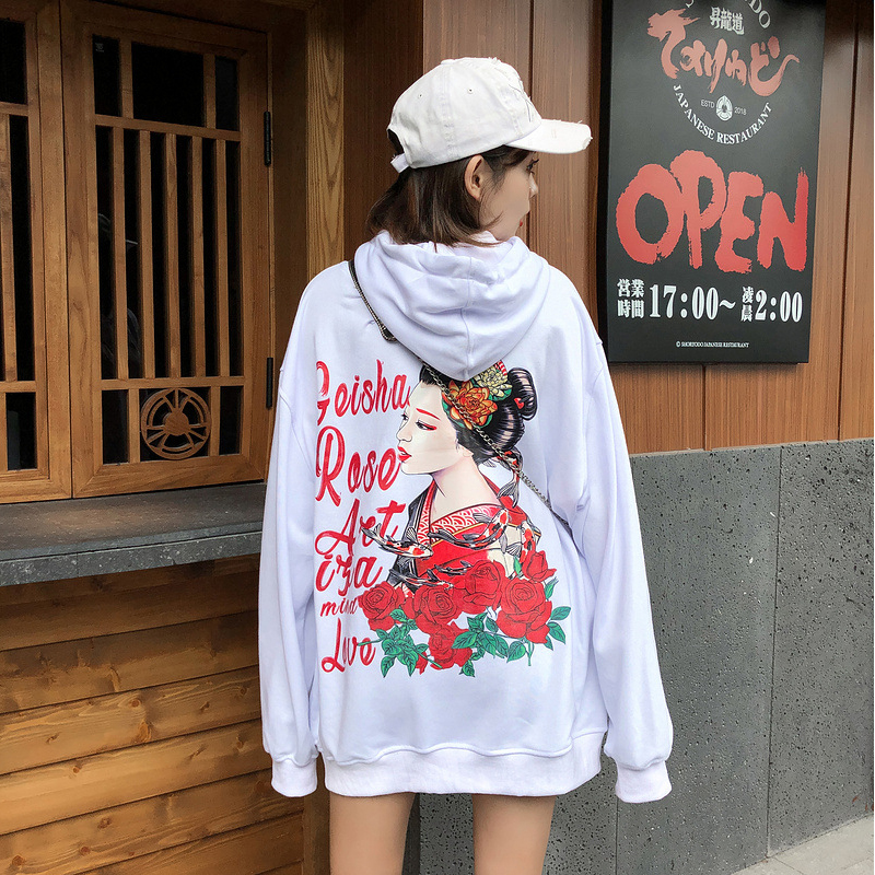 Streetwear Japanese Lady Rose Print Hoodies Men Women Harajuku Sweatshirts Cotton 2019 Mens Autumn Loose Hoodies Couple HZ094 in Hoodies amp Sweatshirts from Men 39 s Clothing