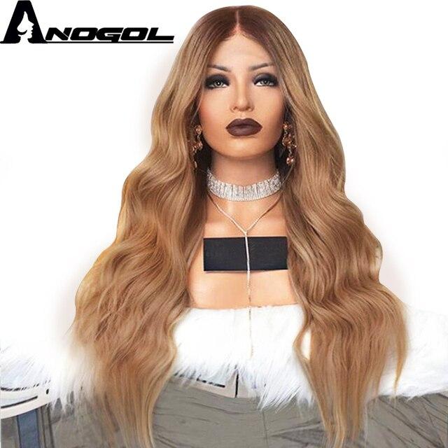 Anogol 180% 密度ナチュラルヘアラインダークブラウンオンブルブロンドロングボディ波本格ヘアウィッグ合成レースの前部かつら女性