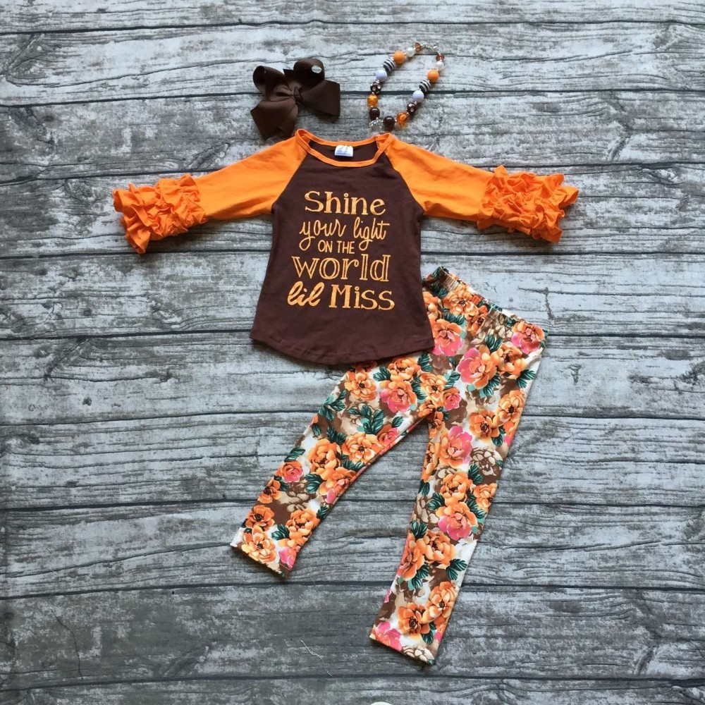 girls fall and winter boutique outfits girls shine your light on the world outfits girls floral
