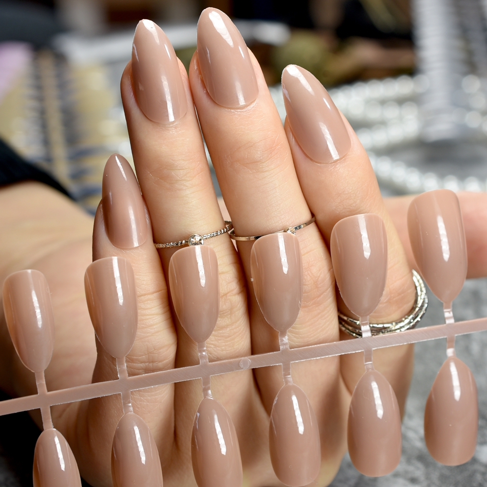 Oval Sharp end Stiletto False Nails Coffee Brown Color Faux Ongles Waterdrop Fake Nails Tips Full Cover Manicure Artificial Nail