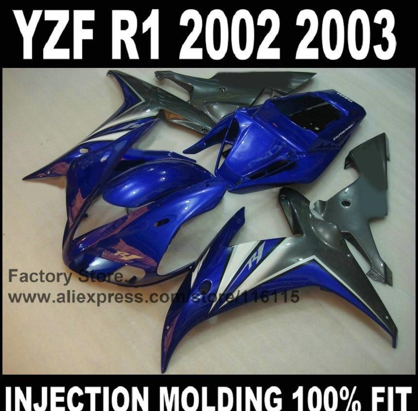 Good motorcycle injection factory fairings kits for YAMAHA YZFR1 2002 2003 YZF R1 02 03 YZF-R1 blue gun gray ABS fairing