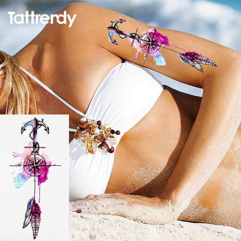 1pcs Watercolor cool henna rose flowers Temporary Body Tattoo Beautiful Shoulder thigh Back Body decor lace owl women body paint 3