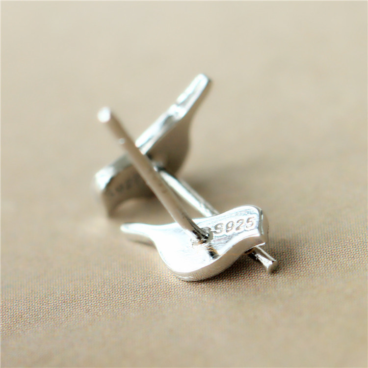 Creative Personality Bird Stud Earrings Female 925 Sterling Silver ...