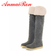 ENMAYERBlack Brown Grey Yellow 2016 Hot Fashion Flat Snow Boots Women Over-The-Knee Boot Cotton Warm Shoes BIG Size 34-43 Winter