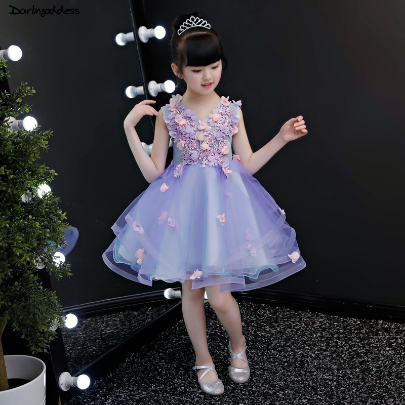 2019 New Arrival Lace Ball Gown   Flower     Girl     Dresses   for Weddings Purple Tulle Peagent   Dresses   for   Girls   Kids Evening   Dress