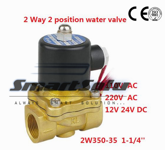 Free Shipping 2PCS 1.25'' Normally Open Water Solenoid Valve Brass NBR Model 2W350-35-NO DC12V free shipping 2pcs 1 1 2 free shipping 2pcs ac110v normally open solenoid valve 2 way brass nbr air oil 2w400 40 no