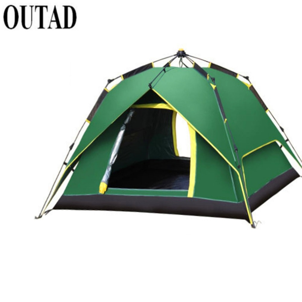 OUTAD 3-4 Person Portable Fully Automatic Rainproof Tent Double Layers Outdoor Camping Hiking Fishing Backpacking Tent blue 2 person oxford camping tent outdoor double layers gazebo tourist tent folding beach tent for camping hiking fishing party