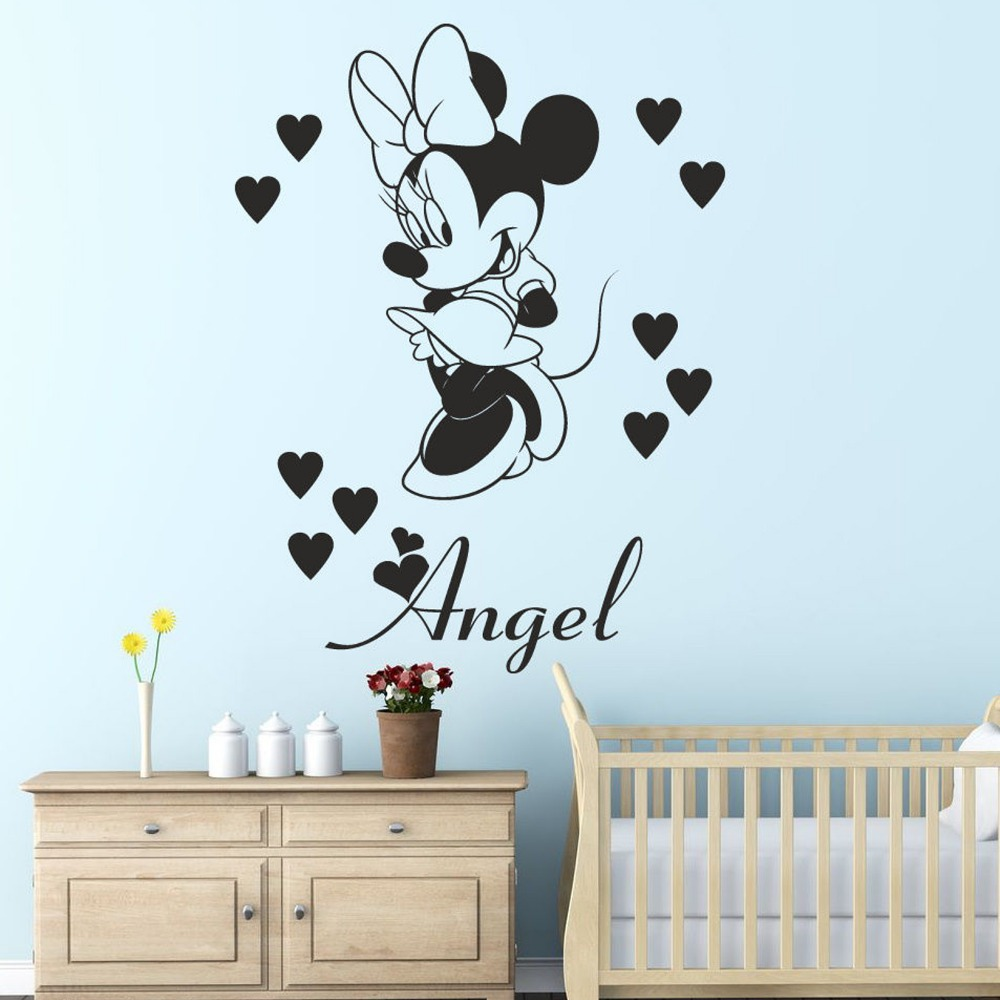 3 sizes minnie mouse with personalised name wall sticker decal for 3 sizes minnie mouse with personalised name wall sticker decal for kids bedroom girls room decoration wallpaper design in wall stickers from home garden amipublicfo Choice Image