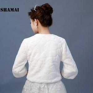 Image 5 - SHAMAI New Wedding Jacket Warm Faux Fur Wrap Bridal Coat 3/4 Sleeves Wedding Shrug Bride Accessories In Stock