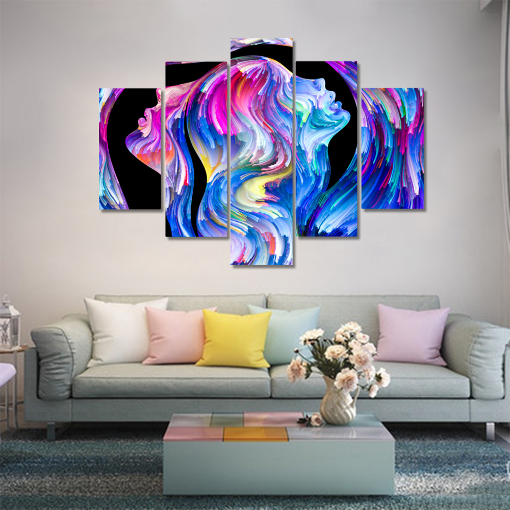 Unframed 5 HD Canvas Prints Abstract Character Depiction Living Room Decoration Mural Module Art Spray Painting Unframed