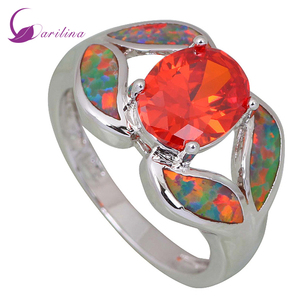 Garilina Fashion women ring Red Cubic Zirconia Garnet Opal 925 Sterling Silver jewelry ring size 6 7 8 9 R412