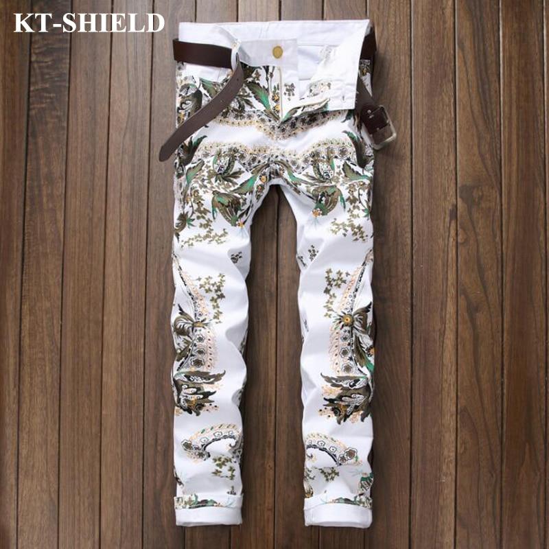 New Jeans Men Brand White Printed Denim Pants Masculina Vaqueros Hombre Slim fit Casual Jeans Pants