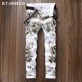 Nuevos Jeans de Marca para Hombre Blanco Impreso Denim Pantalones Vaqueros Hombre Vaqueros Slim fit Ocasional Masculina Pantalones Homme Lujo de la Alta Calidad