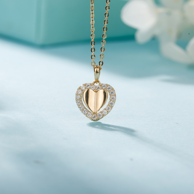 925 Sterling Silver AAA CZ Hearts Charms Necklaces Pendant for Women Classic Romantic K Gold Hearts Pendant
