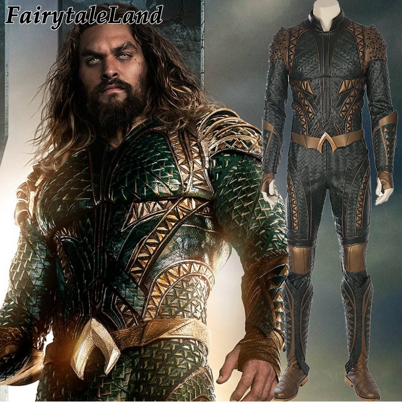 2017 Movie Justice League Arthur Curry Aquaman Cosplay Costumes Superhero Halloween Costumes Green Jumpsuit Aquaman Costume