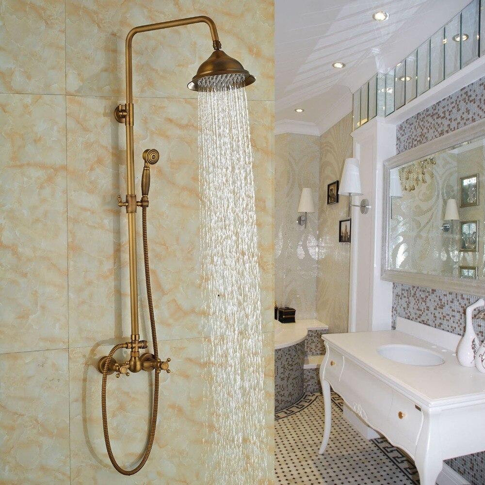 Antique Soild Brass Bathroom Shower Set Faucet Wall Mount Shower Head