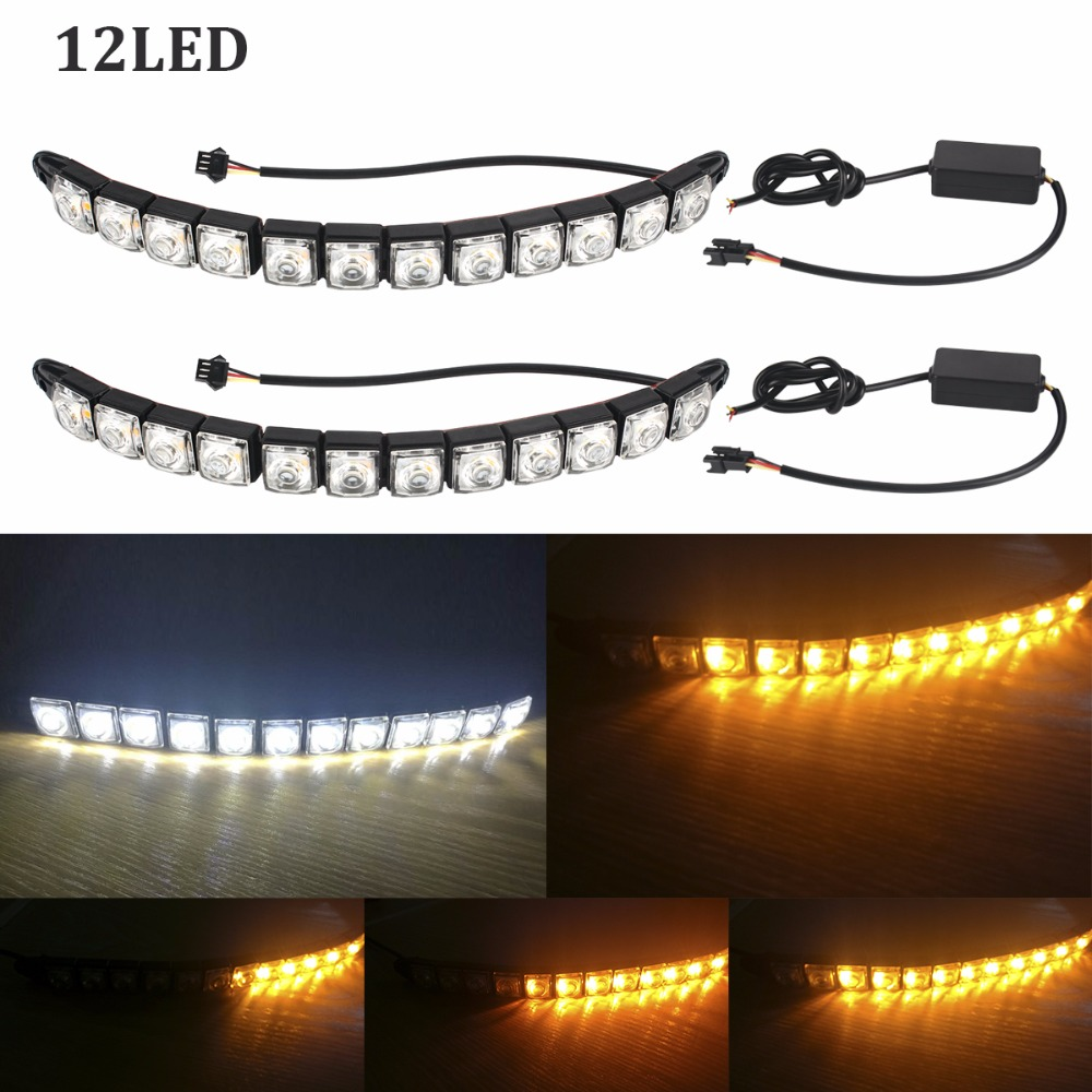 12LED Car COB DRL Driving Fog Light Flexible Daytime Running Light for BMW/Audi/Honda/Toyota/Hyundai/VW/Kia/Mazda/Buick/Nissan leadtops 2pcs 23mm eagle eye led car drl fog daytime running light automobiles accessoires 12v for mazda audi toyota honda vw dj