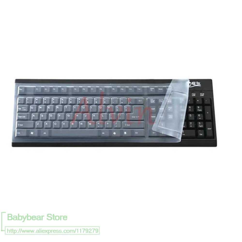 44*14Cm Silicone Keyboard Protector Cover Kulit untuk Komputer Desktop Keyboard untuk 19 ''21.5'' 22.1 ''23'' 24 ''27'' 29 Cm
