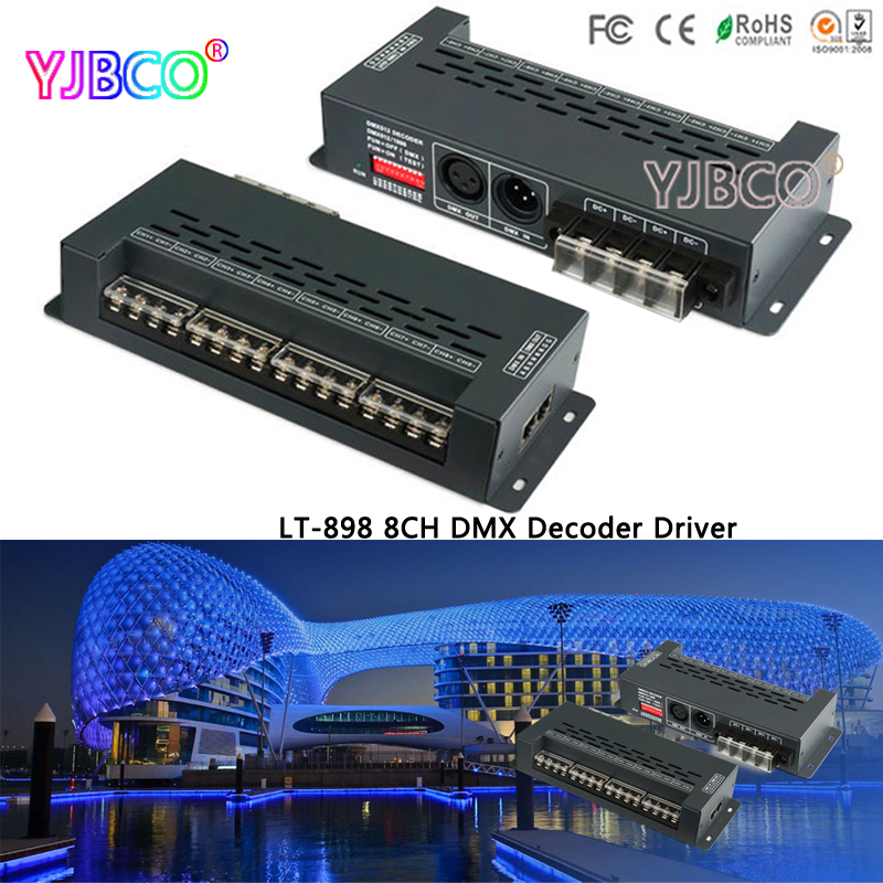 led Driver LT-898 New DMX Decoder Converts 6 RGB strip Controller DMX512 Decoder XLR-3 RJ45 Port 12V Multi 8 Channel Output 24ch 24channel easy dmx512 dmx decoder led dimmer controller dc5v 24v each channel max 3a 8 groups rgb controller iron case
