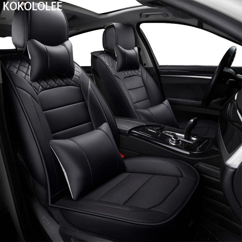 [KOKOLOLEE] pu leather car seat covers for peugeot 206 307 bmw e46 e30 e36 vw passat b5 lada granta for hyundai solaris kia ceed car travel auto car seat cover set for seat ibiza kia ceed bmw e46 e36 hyundai solaris renault logan car accessories car styling