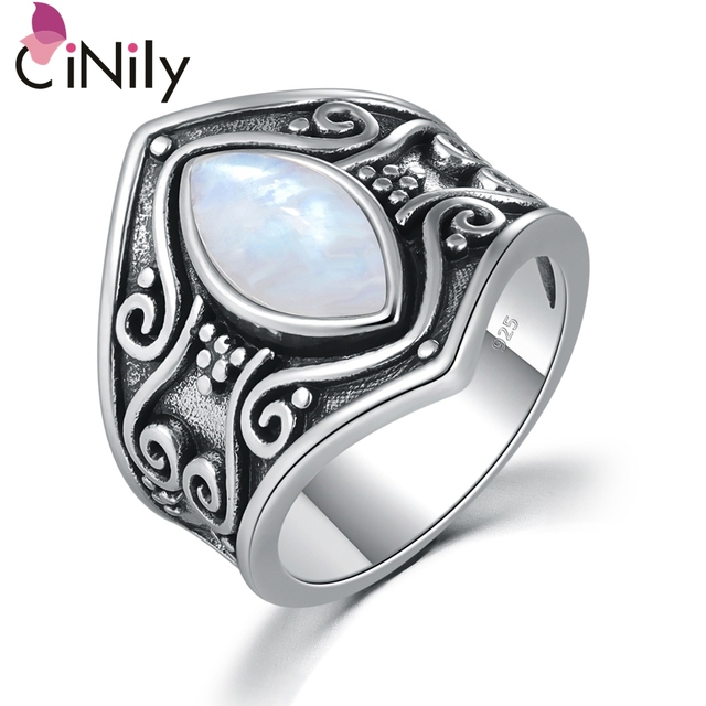 CiNily Big Natural Moonstone Silver Ring Gothic Men Women Signet Crescent Black
