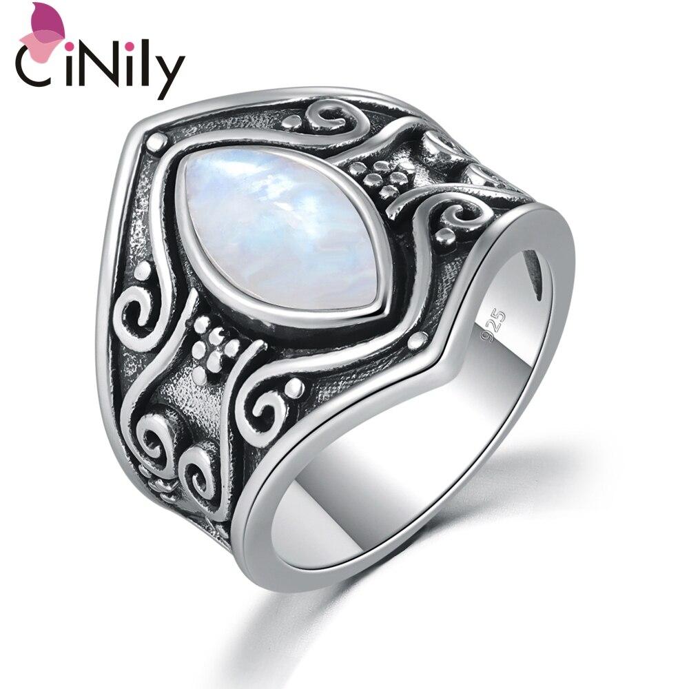CiNily vendimia piedra lunar Natural de plata Boho bohemio moda joyería para las mujeres anillo grande tamaño 5-11 NJ11176