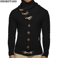 SHOKOTANO Brand Men Knit Clothing Spring Cardigan Male Fashion Hipster Sweater Men Casual Horns Buckle Mens Sweaters Coats Tops