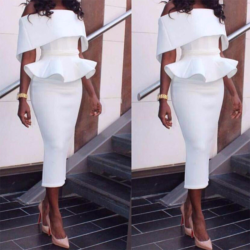 South African Off The Shoulder Prom Tea Length Midi Calf Peplum Ruffles Mermaid Evening Gowns Sleeves