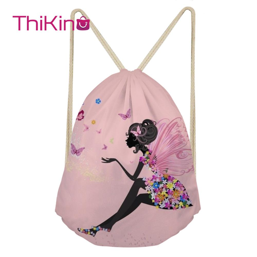 Thikin Lovely Girls Casual Sack Drawstring Bag For Women Men Travel Backpack Toddler Softback Lady Beach Mochila DrawString Bag