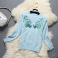 Alpha Autumn Winter New Peacock Sweater Sequined Embroidery Cartoon Patterns Women Winter Pullovers Mohair Quality Sweater Top