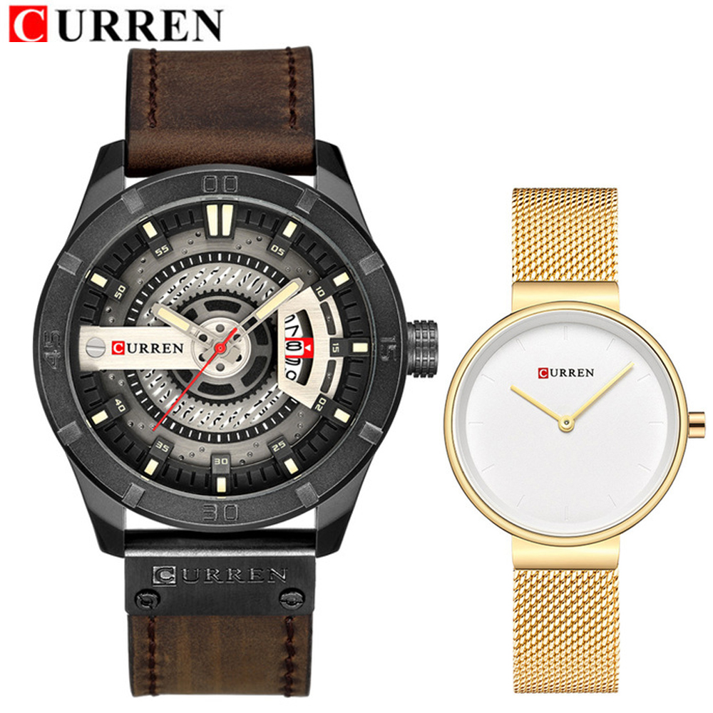 Curren Brand Couple watches for Lovers Stainless steel Lady Watch Mens Women Quartz Wrist watches Set Lovers Gift Clock MaleCurren Brand Couple watches for Lovers Stainless steel Lady Watch Mens Women Quartz Wrist watches Set Lovers Gift Clock Male