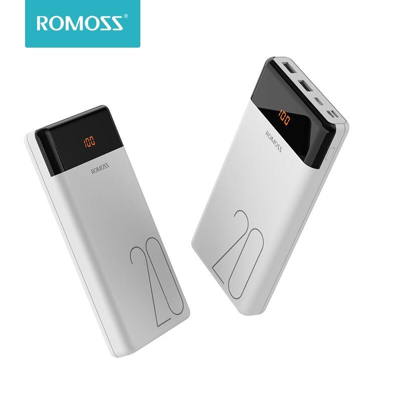 ROMOSS LT20 banco de potencia 20000 mAh Dual USB cargador portátil con pantalla LED rápido de batería externa para teléfonos tableta Xiaomi