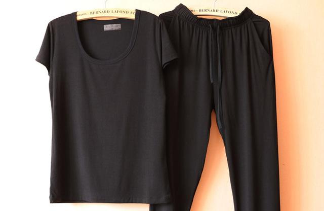 Mulheres soild cor modal pijama define manga curta t-shirt e calças compridas desgaste fino pijama pijama terno para as mulheres no interior