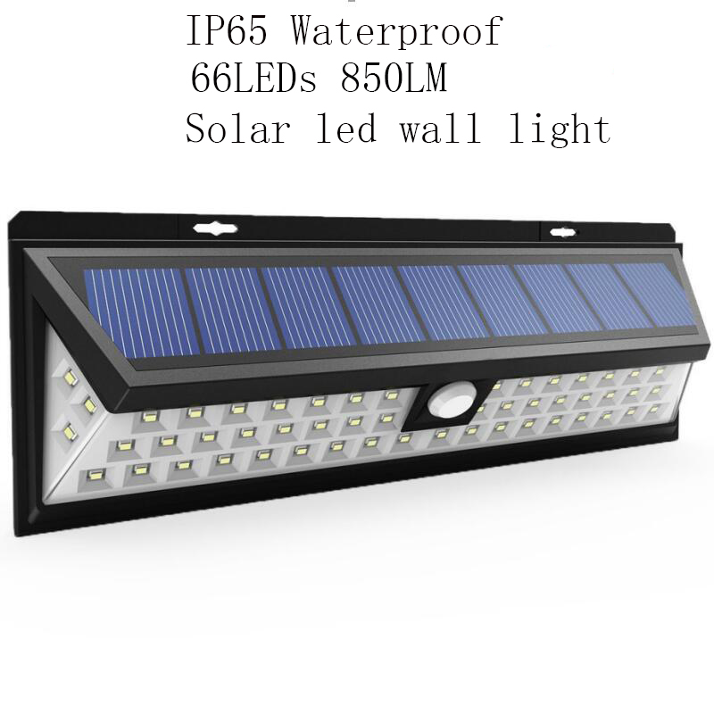 Waterproof 66 LED Solar led wall Light 2835 SMD White Solar Power Outdoor Garden Light PIR Motion Sensor Pathway Wall Lamp 3.7V cmi 5w 40lm 3500k 3 led light control pir control warm white solar wall lamp silvery white 12v