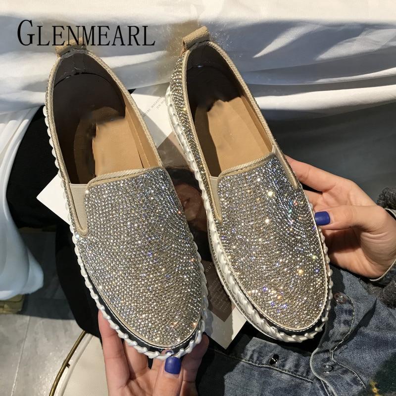 Women High Heels Pumps Round Toe Rhinestones Bling Bling Slip on Casual Shoes