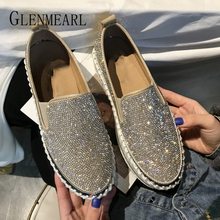 Women Loafers Casual Shoes Platform Woman Flats Fashion Rhinestone Slip On Round Toe Female Fisherman Shoes Spring Summer New DE стоимость
