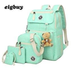 Для женщин холст 4 шт./компл. школьные рюкзаки Колледж школьный мода Plecak для подростков мальчиков и девочек Moclila сумка