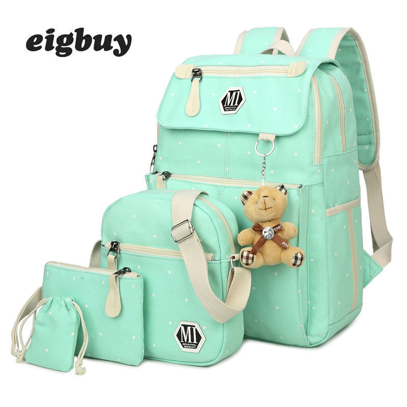 Women Canvas 4pcs/set School Backpacks College Schoolbag Fashion Plecak For Teenager Girl And Boys Rucksack Moclila Shoulder Bag