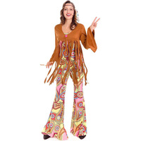 Exotic Clothes Female Indian Cosplay Halloween Costume Fantasic Costume Cotton Native Indian Disfraces 1970S Singers 7183H276