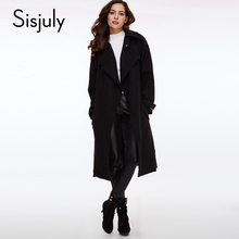 Sisjuly Solid Color Pocket Lacing Women s Casual Overcoat Belt Fashion Fall Winter