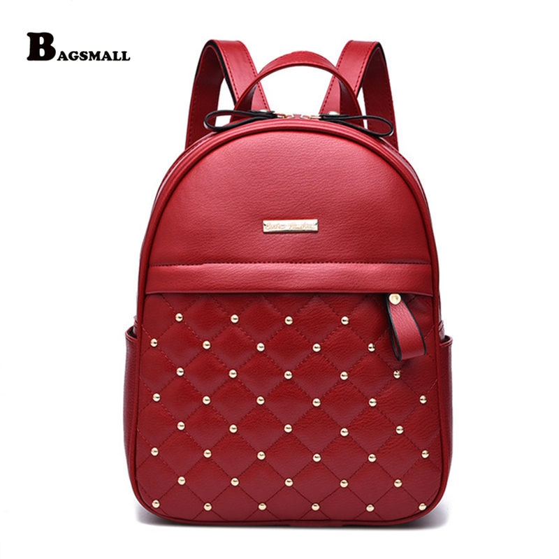 BAGSMALL Women Casual Travel Backpack School Bags PU Leather Backpack for Teenage Girls Mochila Female Backpack bagsmall women casual travel backpack school bags pu leather backpack for teenage girls mochila female backpack