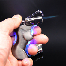 Spray Gun Lighter Jet Torch Turbo Lighter Cigar Pipe Lighter Butane LED Light Body Shape Cigarette 1300 C Fire Windproof cigar spray lighter windproof and blue fire pipe lighter cigar cigarette lighter men s business gift