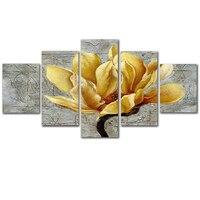 Thời trang Trang Trí Nội Thất Canvas Vẽ Tranh 5 Cái Vàng Orchid Flower Oil Có Khung Phòng Khách Modular Tường Art Poster