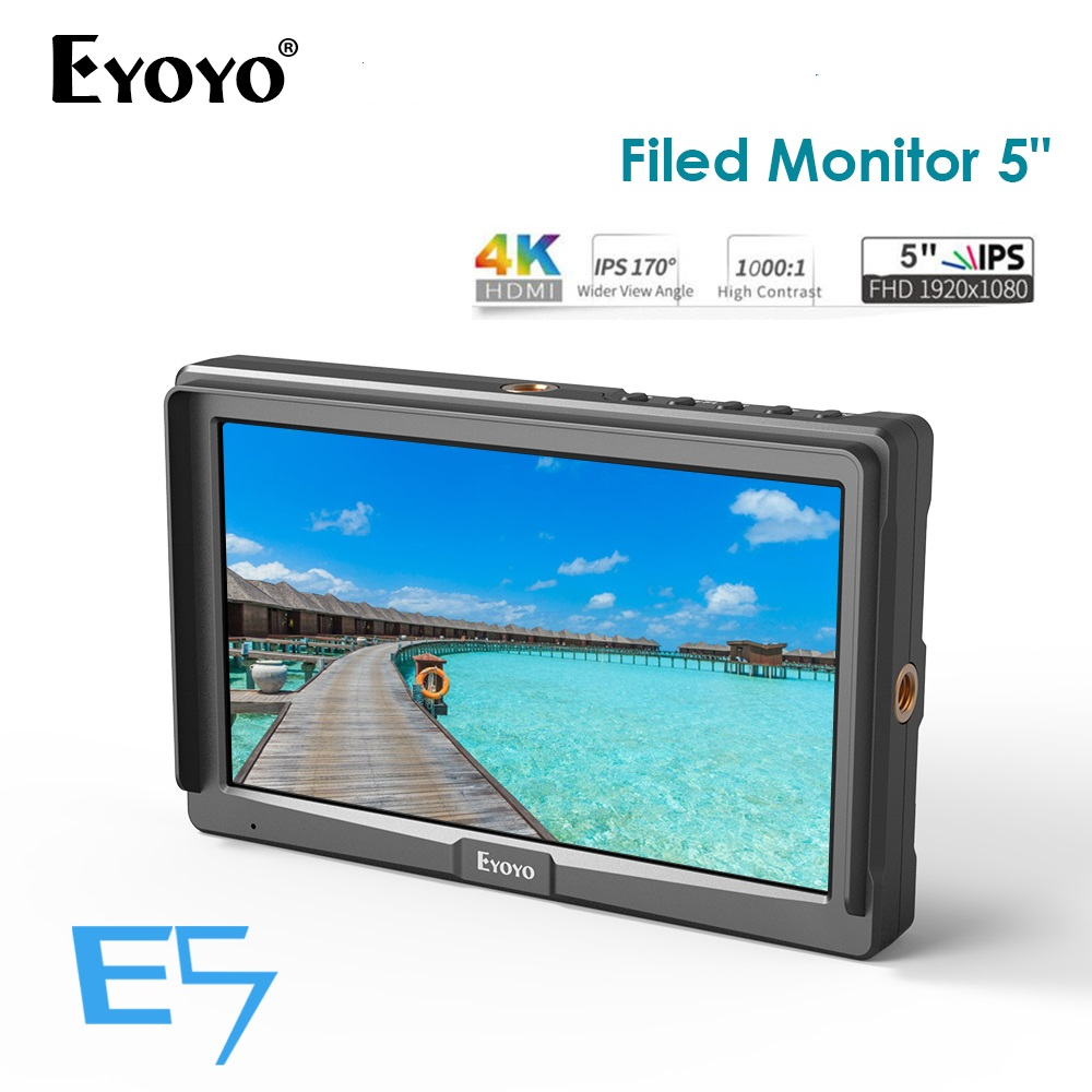 Eyoyo E5 5 Inch 1920x1080 HD IPS Screen 500cd/m2 Camera Field Monitor 4K HDMI Input Output Video for DSLR Mirrorless CameraEyoyo E5 5 Inch 1920x1080 HD IPS Screen 500cd/m2 Camera Field Monitor 4K HDMI Input Output Video for DSLR Mirrorless Camera