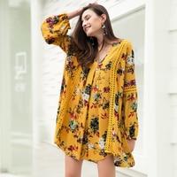 Vintage Yellow Bohemia Floral Print V Neck Women Dress Lantern Long Sleeve Spring Autumn Loose Dresses