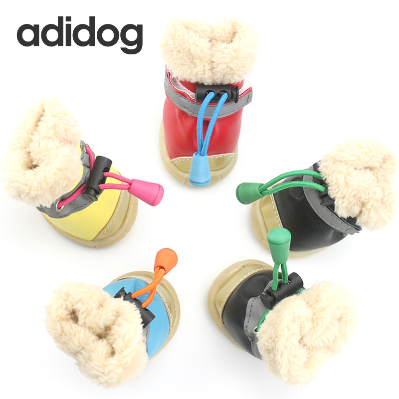 Sepatu anjing Musim Dingin Pet Musim Gugur 4 pcs / set Sepatu Anjing Anti Slip Tahan Air Katun Super Hangat XS-XL ChiHuaHua Kecil ...