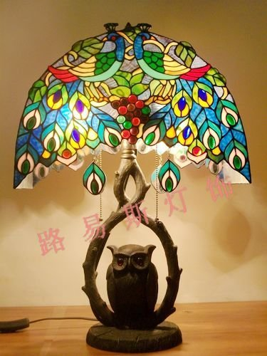 Exquisite high-end lamps lighting Tiffany decorative lamps Garden peacock grape bedroom living room table lamp
