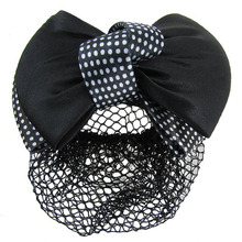 MYPF-Белый Dot Pattern Черный Bowknot Декор Волос застежка сетку для волос для женщин