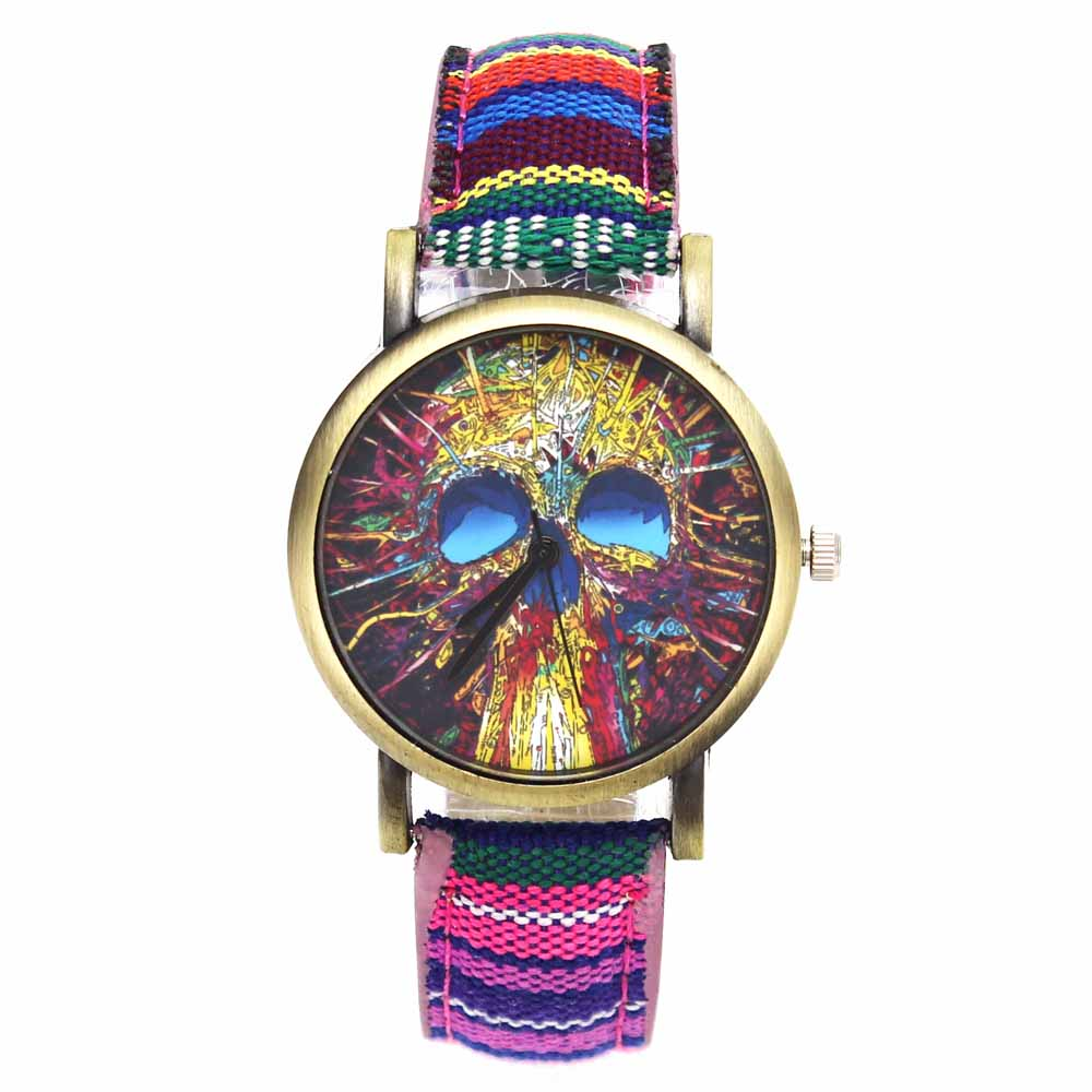 Fashion Head Head Devil Flower Skeleton Dial Watches Casual Men Women - Әйелдер сағаттары - фото 1